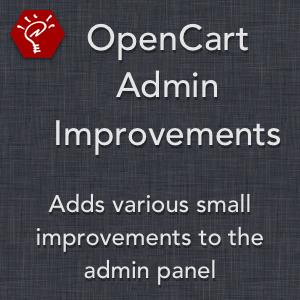 OpenCart Admin Improvements
