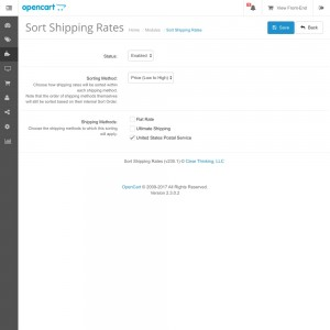 Sort Shipping Rates
